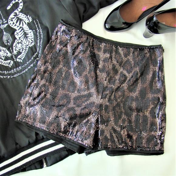 Forever 21 Pants - F21 Exclusive • Sequin Leopard Print Hot Pants